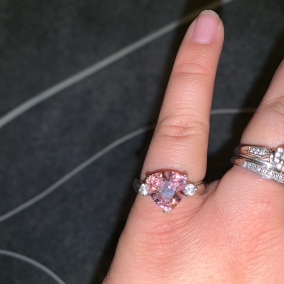 Silver Pink CZ ring